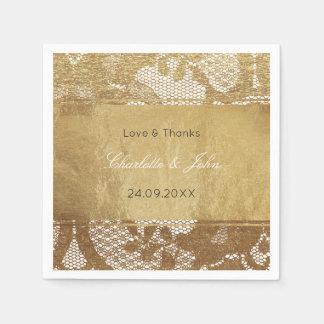 Royal Vintage Golden Foil Grungy Lace Wedding Paper Napkin