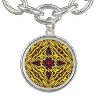 Royal Vintage Kaleidoscope Pattern  Charm Bracelet