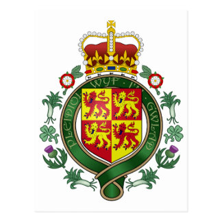 Royal Wales Official Coat Of Arms Heraldry Symbol Postcard