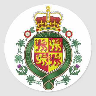 Royal Wales Official Coat Of Arms Heraldry Symbol Classic Round Sticker