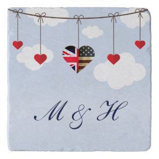 Royal Wedding British and American flag hearts Trivet