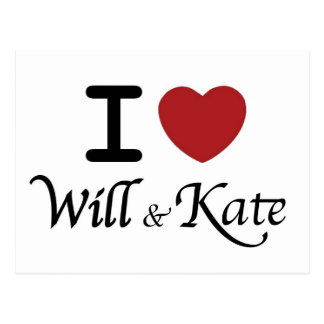 Royal Wedding I Heart Will & Kate Postcard