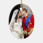 Royal Wedding Double-Sided Oval Ceramic Christmas Ornament