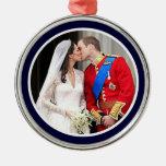 Royal Wedding Round Metal Christmas Ornament