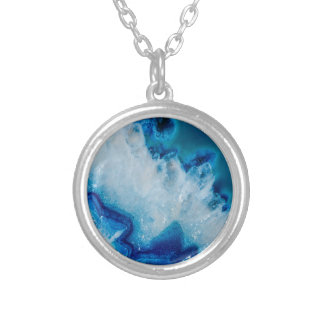 Royally Blue Agate Silver Plated Necklace