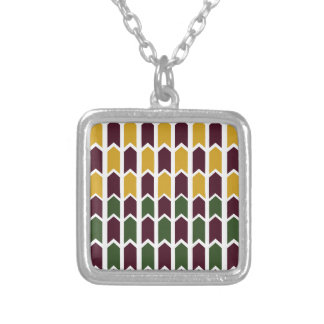 Royalty Checkered Panel Fence Silver Plated Necklace