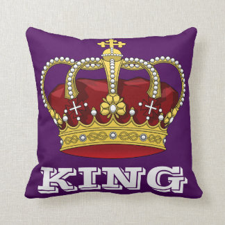 Royalty King Crown Royal Purple & Initial Letter Throw Pillow