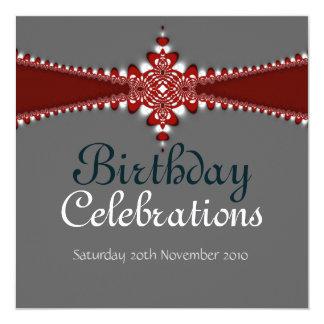 Royalty Red Silver Grand Birthday Invitation