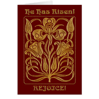 Roycroft Easter Brick Red and Gold (Personalized) Card