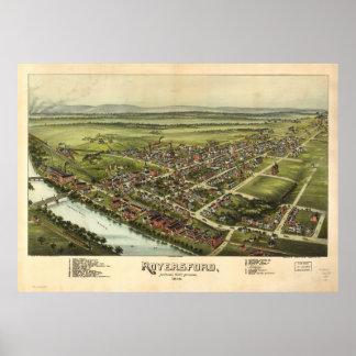 Royersford Pennsylvania 1893 Antique Panoramic Map Poster