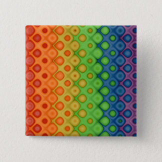 ROYGBIV Rainbow Bubbles Distorted Colors 2 Inch Square Button