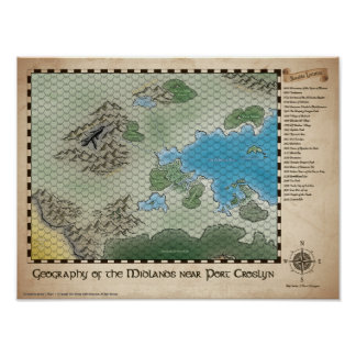 RPG Midlands Regional Map Poster