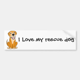 RR- Cute Funny Rescue Dog Puppy Cartoon Bumper Sticker
