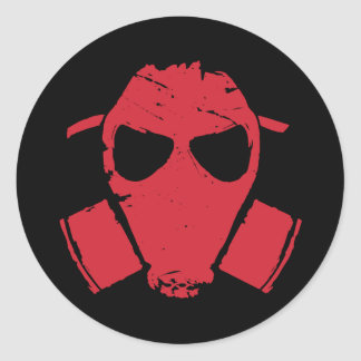 rrc - gas mask red classic round sticker