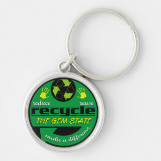 RRR The Gem State Silver-Colored Round Keychain