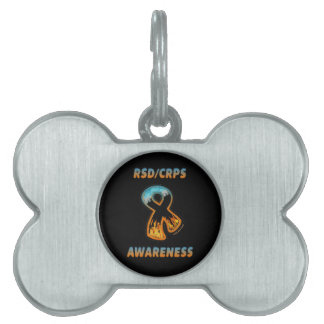 RSD/CRPS AWARENESS fire & ice ribbon Pet ID Tag