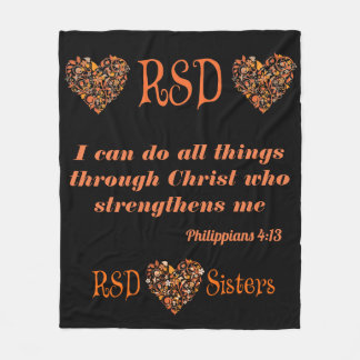RSD hearts Bible Verse Philippians 4:13 Fleece Blanket