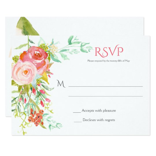RSVP 2 - Pale Pink Roses Wildflowers Greenery Card