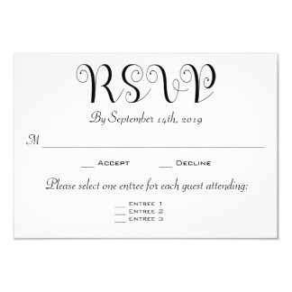 Multiple choice cards photocards invitations more rsvp 3 entree choices reception card invitation stopboris Image collections