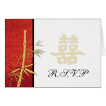 RSVP - Asian Red Double Happiness Wedding RSVP Note Card