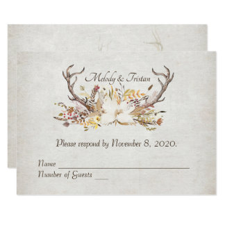 RSVP-autumn bouquet with deer antlers Card