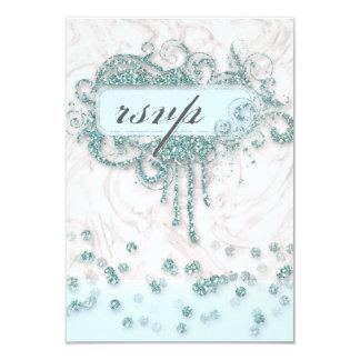 RSVP Baby Shower Boy Marble Blue Glitter Confetti Card