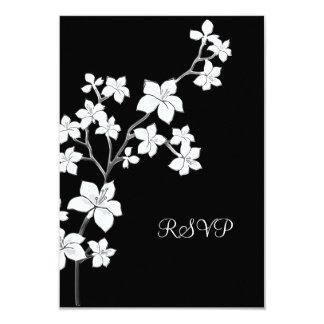 "RSVP  Birthday Asian Black Floral White 3.5"" X 5"" Invitation Card"