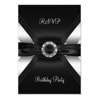 RSVP Birthday Diamond Jewel Black White Silver Card