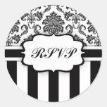 RSVP - Black and White Damask Stripe Sticker