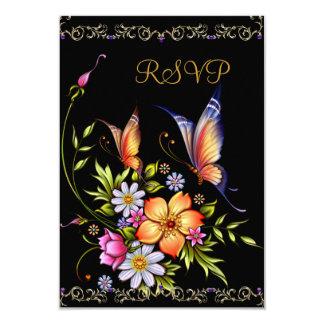 "RSVP Black Yellow Blue White Floral Response Card 3.5"" X 5"" Invitation Card"