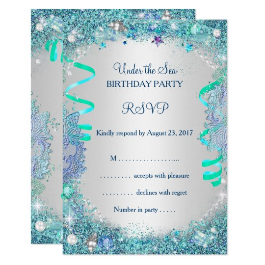 RSVP Blue Under The Sea Birthday Party Card
