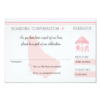 RSVP Boarding Pass TO BARBADOS Card