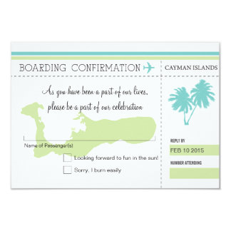 RSVP Boarding Pass to CAYMAN ISLANDS Card