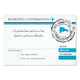 "RSVP Boarding Pass TO Dominican Republic 3.5"" X 5"" Invitation Card"