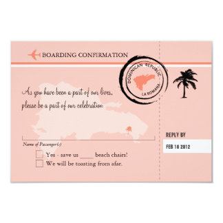 RSVP Boarding Pass TO Dominican Republic Card