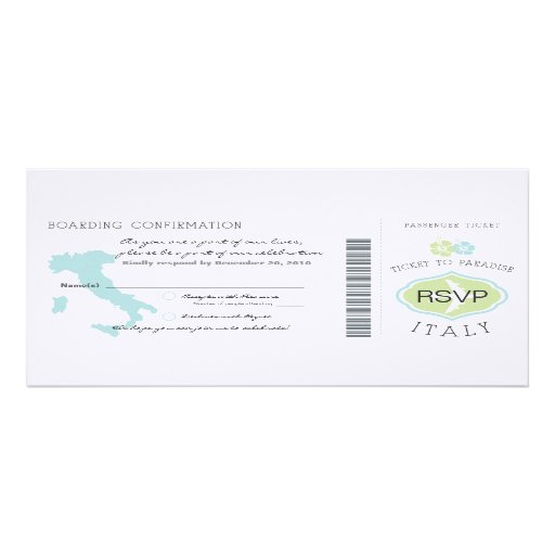 RSVP Boarding Pass to Italy Wedding Invitation