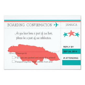 RSVP Boarding Pass TO JAMAICA 3.5x5 Paper Invitation Card