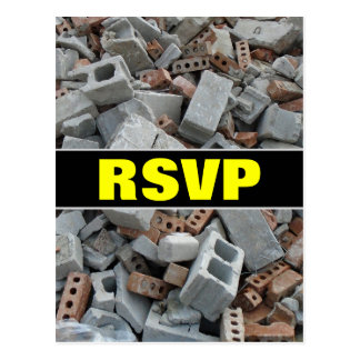"""RSVP"" + Bricks & Blocks Demolition Rubble Debris Postcard"