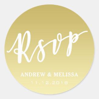 RSVP | Brush Script Faux Gold Wedding Sticker