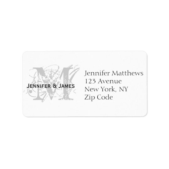 RSVP Card Address Labels Chic Monogram
