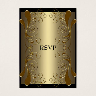 RSVP Card Black Gold Glam Floral