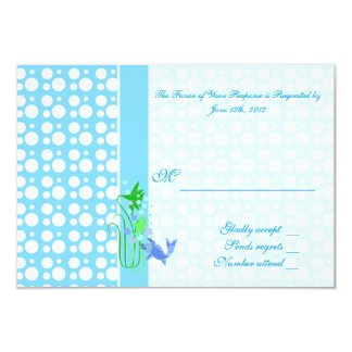 RSVP card. Cute , cool blue polka dots, goldfish, Card