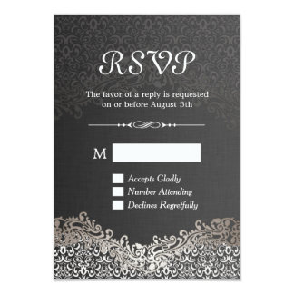 RSVP Card - Elegant Black Silver Damask