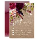 RSVP CARD | Elegant Floral Rustic Boho Rose Kraft