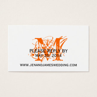 RSVP Card for Wedding Website Orange Chic Monogram