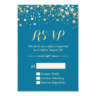 "RSVP Card - Gold Confetti Dots Royal Blue 3.5"" X 5"" Invitation Card"