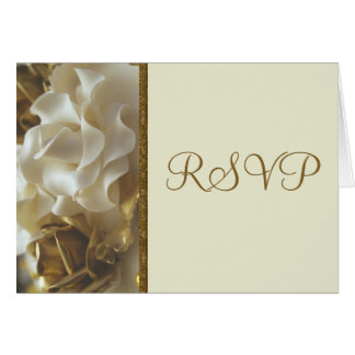 RSVP Card Gold & Ivory Wedding Cake Roses