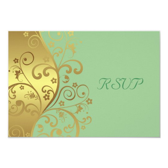 RSVP Card--Gold Swirls & Seafoam Card