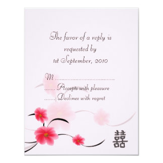 """RSVP Card Pink Blossom Double Happiness 4.25"""" X 5.5"""" Invitation Card"""