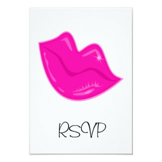 RSVP Card Pretty Pink Lips on White